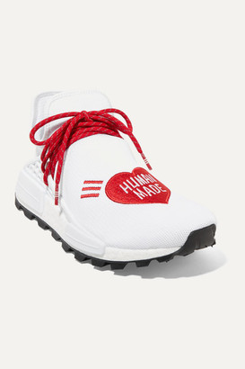 adidas Pharrell Williams Human Made Nmd Hu Appliqued Stretch-knit Sneakers - White