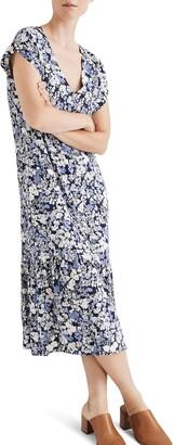 Madewell Flower Garden Button Front Ruffle Hem Midi Dress