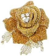 Ever Faith Silver-Tone Austrian Crystal Blooming Rose Flower Leaf Brooch Clear A04951-8