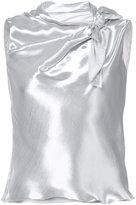 Oscar de la Renta tied neckline sleeveless blouse
