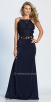 Dave and Johnny Two Piece Rhinestone Halter Prom Dress