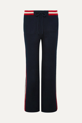 Chinti and Parker Trapeze Striped Cashmere Track Pants - Navy