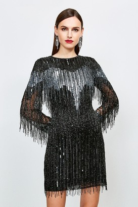 Karen Millen Sequin And Beaded Tassel Dress
