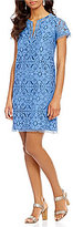 Adrianna Papell Margot Cross-Dyed Medallion Lace Shift Dress
