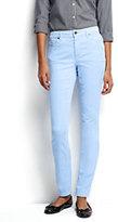 Lands' End Women's Tall Mid Rise Slim Leg Corduroy Pants-Blue Brook