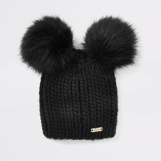 River Island Womens Black faux fur double pom pom beanie hat