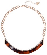 GUESS Bent Bar Short Necklace with Faux Tortoise