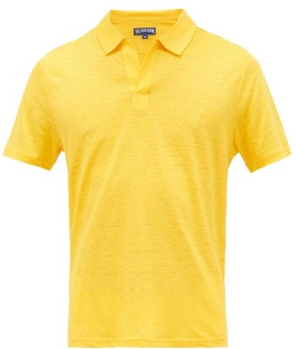 Vilebrequin Logo-embroidered Linen-jersey Polo Shirt - Mens - Yellow