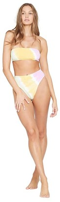 L-Space Hand Tie-Dye Beach Wave Top (Diagonal Sunburst) Women's Swimwear
