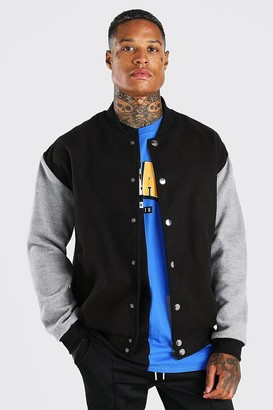 boohoo Mens Black Melton Contrast Sleeve Oversized Varsity Jacket, Black