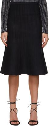 Victoria Victoria Beckham Navy Stripe Fluted Skirt