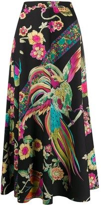 RED Valentino Floral Print A-Line Skirt