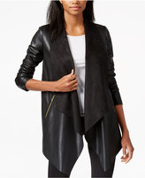 Bar III Faux-Leather Flyway Topper Jacket, Only at Macy's