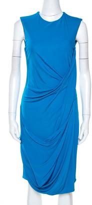 Elie Saab Blue Jersey Sleeveless Draped Dress S