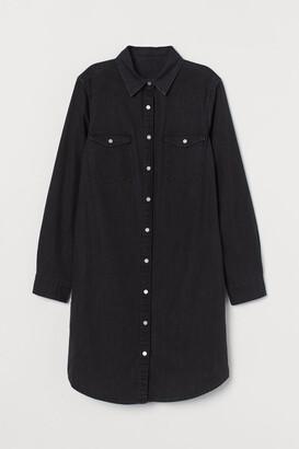 H&M Denim Shirt Dress - Black