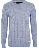 River Island Boys blue rib rolled crew neck sweater