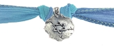 Catherine Michiels Star of David Silver Charm & Silk Bracelet Wrap