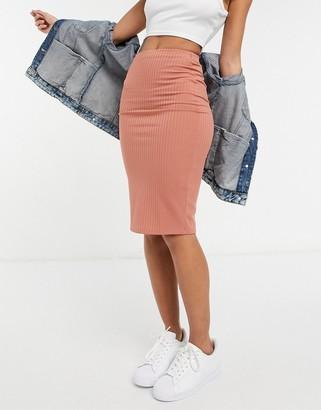 Flounce London Flounce ribbed midi skirt in pink