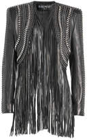 Balmain Embellished Leather Jacket with Fringe