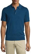 Neiman Marcus Short-Sleeve Cashmere-Silk Polo Shirt