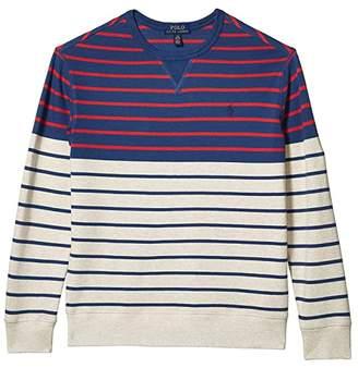 Polo Ralph Lauren Striped Cotton French Terry Sweatshirt (Big Kids) (Federal Blue) Boy's Clothing