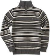 Calvin Klein Focal Stripe Quarter-Zip Cotton Sweater, Big Boys
