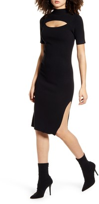 Leith Cutout Front Mock Neck Sweater Dress
