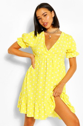 boohoo Chiffon Polka Dot Ruffle Smock Dress