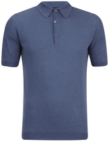 John Smedley Adrian Sea Island Cotton Polo Shirt Baltic Blue