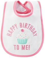 "Carter's Baby Girl Happy Birthday To Me"" Embroidered Cupcake Bib"