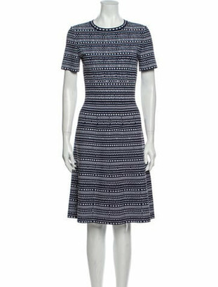 Alaia Printed Knee-Length Dress Blue