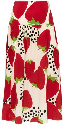 Adriana Degreas Strawberry Print Midi Skirt
