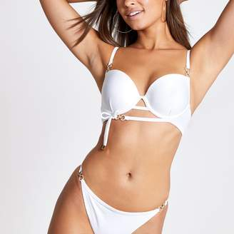 River Island Womens White diamante trim plunge bikini top