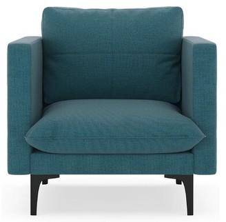 Crofoot Armchair Corrigan Studio Fabric: Aegean Blue, Leg Color: Black