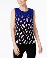 Calvin Klein Printed Pleated-Neck Shell