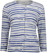 Arpeggio Knitwear Women's Cardigans White - White & Blue Stripe Button-Up Cardigan - Women