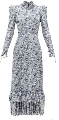 The Vampire's Wife The Cinderella Liberty-print Cotton-crepe Dress - Blue White