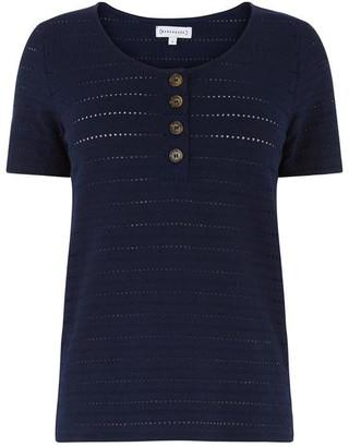 Warehouse Textured Button T-Shirt