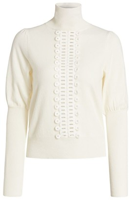 See by Chloe Lace Trim Knit Turtleneck