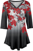 Azalea Red & Gray Floral Notch Neck Tunic - Plus Too