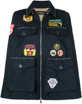 DSQUARED2 patch appliqué and studded cape