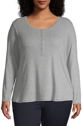 A.N.A Womens Long Sleeve Henley T-Shirt Plus