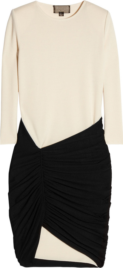 Giambattista Valli Two-tone ruched wool dress