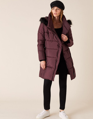 Monsoon Patsy Long Padded Coat in Recycled Fabric Brown