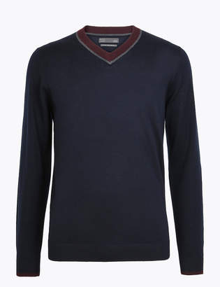 M&S CollectionMarks and Spencer Pure Extra Fine Merino Wool V-Neck Jumper