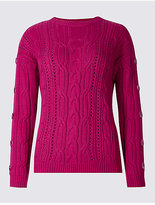M&S Collection Cotton Blend Cable Knit Button Sleeve Jumper