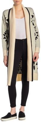 Blanknyc Denim Geometric Shawl Collar Cardigan