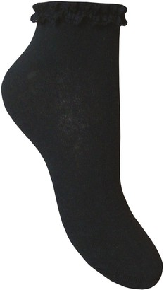 Teddyt's Ladies' Soft Deluxe Frilly Lace Top Cotton Rich Ankle Liners Socks (Black)