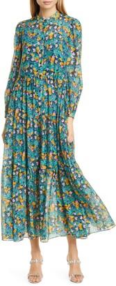 Diane von Furstenberg Nea Floral Long Sleeve Shirtdress