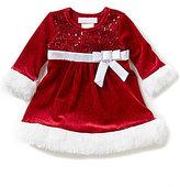 Bonnie Jean Bonnie Baby Girls Newborn-24 Months Christmas Faux-Fur-Trimmed Sparkle Stretch Velvet Dress